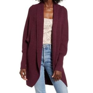 Leith Dolman Sleeve Long Cardigan Burgundy